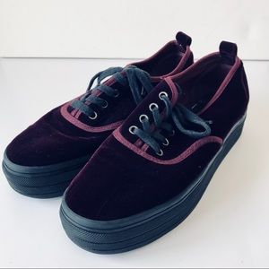 Purple Velvet H&M Platform Tennis Shoes Sneaker 7